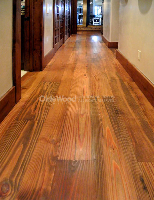 Reclaimed select heart pine flooring wide plank heart pine for Pine wood flooring