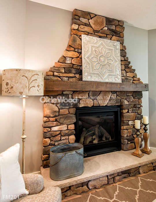 Rough Sawn Fireplace Manels Made With Recycle Barn Beams