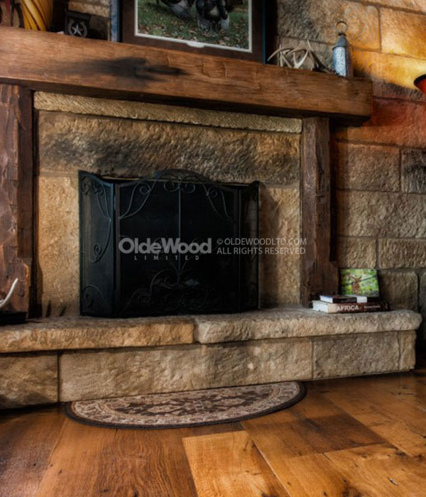Our rustic fireplace mantels from reclaimed barn beams are sanded and custom finished to match your desired fireplace mantel decor.
