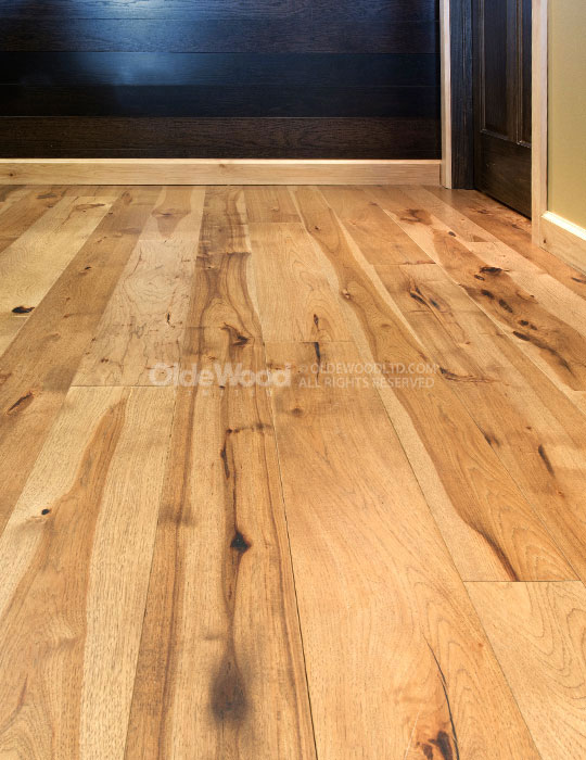 Wide plank hickory flooring hickory wood floor olde wood for Hardwood plank flooring